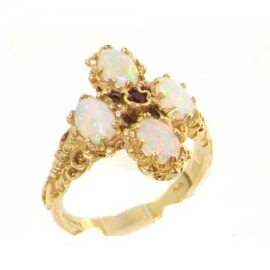 Heavy Weight Victorian Design Solid 9ct Gold Vibrant Ruby & Fiery Opal Ring