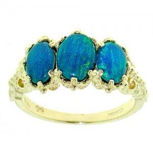9ct Gold Blue Opal Triplet RingFree P&P