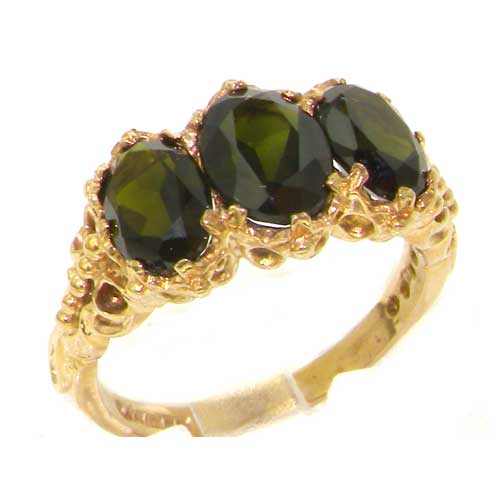 Victorian Design Solid 9ct Gold Natural 4ct Green Tourmaline Ring
