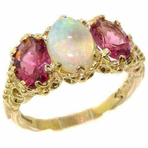 9ct Gold Fiery Opal & Pink Tourmaline Ring