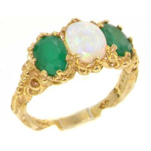 18ct Gold Antique Style Opal & Emerald Ring