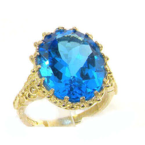Luxury Solid 14ct Yellow Gold Large 16x12mm Oval 8.5ct Natural Blue Topaz Ring