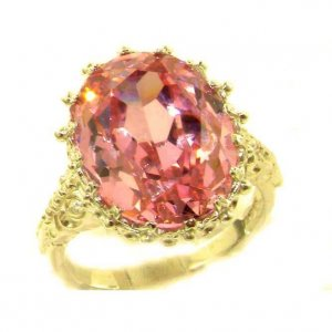 Luxury Solid 9ct Gold Large 16x12mm Oval 13ct Synthetic Pink Sapphire Ring
