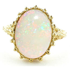 9ct Gold Huge Colourful Opal Ring