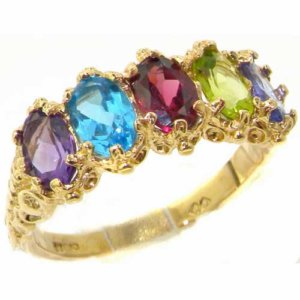 Victorian Design Solid 14ct Yellow Gold Multicolor Ring
