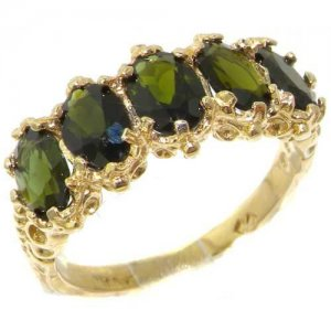18ct Gold Vibrant Green Tourmaline Ring
