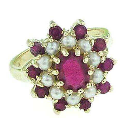 9ct Gold Large Ruby & Pearl Cluster RingFree P&P