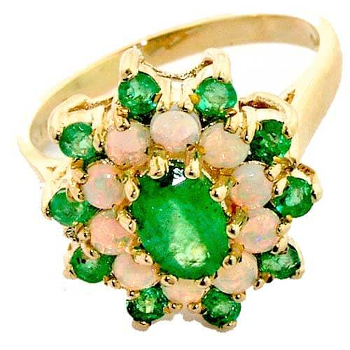 9ct Gold Emerald & Fiery Opal Cluster Ring