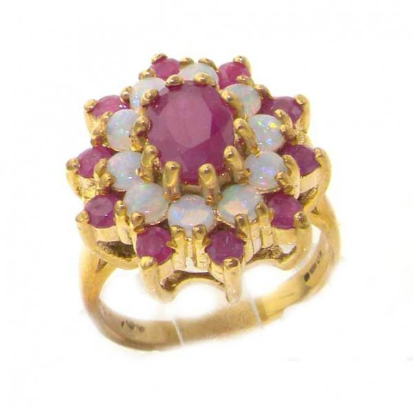 18ct Gold Ruby & Opal Cluster Ring