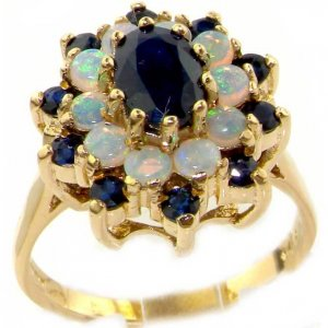 18ct Gold Blue Sapphire & Opal Cluster Ring