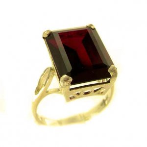 Luxury Solid 9ct Gold Large 16x12mm Octagon cut Synthetic Ruby Ring