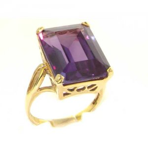 Luxury Solid 9ct Gold Large 16x12mm Octagon cut Synthetic Alexandrite Ring