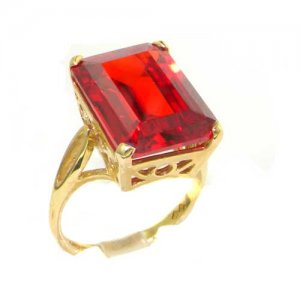 Luxury Solid 14ct Yellow Gold Large 16x12mm Octagon cut Synthetic Orange Sapphire Ring