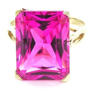 9ct Gold Large 16x12 Synthetic Pink Sapphire RingFree P&P