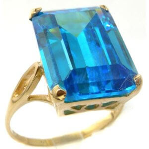 Luxury Solid 14ct Yellow Gold Womens Large Solitaire Synthetic Paraiba Tourmaline Basket Ring