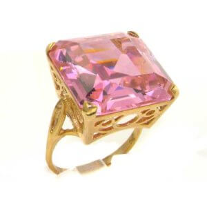 Luxury Solid 9ct Gold Huge Heavy Square Octagon cut Synthetic Pink Sapphire Ring