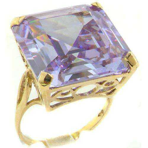 Luxury Solid 14K Yellow Gold Huge Heavy Square Octagon cut Synthetic Tanzanite Ring