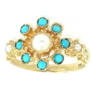 9ct Gold Pearl & Turquoise Rosette Set Ring