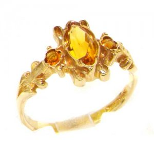 Luxury Ladies Solid British 9ct Gold Victorian Style Marquise Citrine Ring