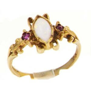 Luxury Ladies Solid British 9ct Gold Victorian Style Marquise Opal & Ruby Ring