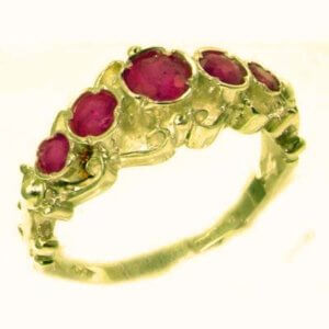 Solid 9ct Gold Genuine Natural Ruby Ring of English Georgian Design