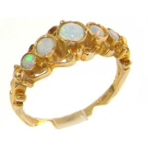 Solid 9ct Gold Genuine Fiery Opal Ring of English Georgian Design