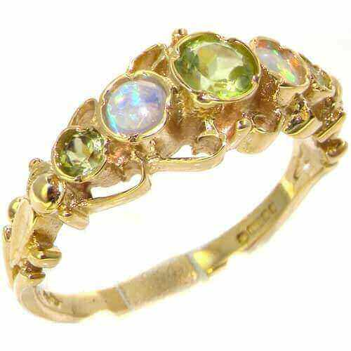 9ct Gold Peridot & Opal Ring