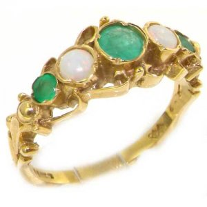 9ct Gold Dainty Emerald & Opal Georgian Style Ring