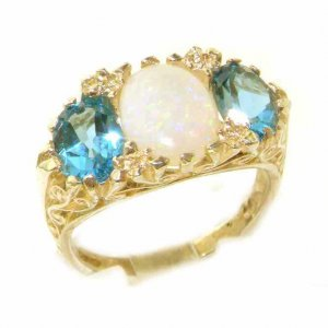 Large High Quality Solid 9ct Gold Natural Opal & Blue Topaz Victorian Designed Ring