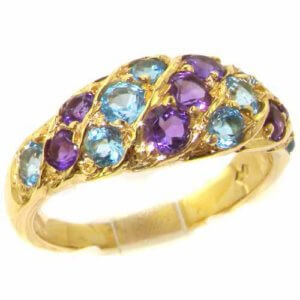 Unusual Large Solid 14ct Yellow Gold Natural Vibrant Amethyst & Blue Topaz Victorian Inspired Ring