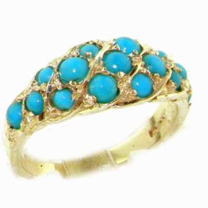Luxury Ladies Solid 14ct Yellow Gold Vibrant Turquoise Band Ring