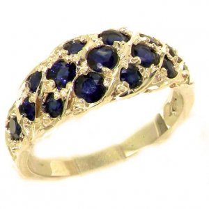 Luxury Ladies Solid 9ct Gold Natural Blue Sapphire Band Ring