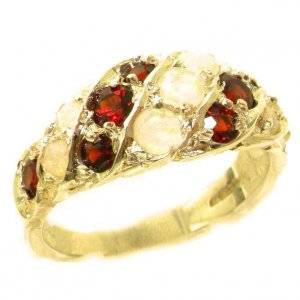 Luxury Ladies Solid 14ct Yellow Gold Natural Fiery Opal & Vibrant Garnet Band Ring
