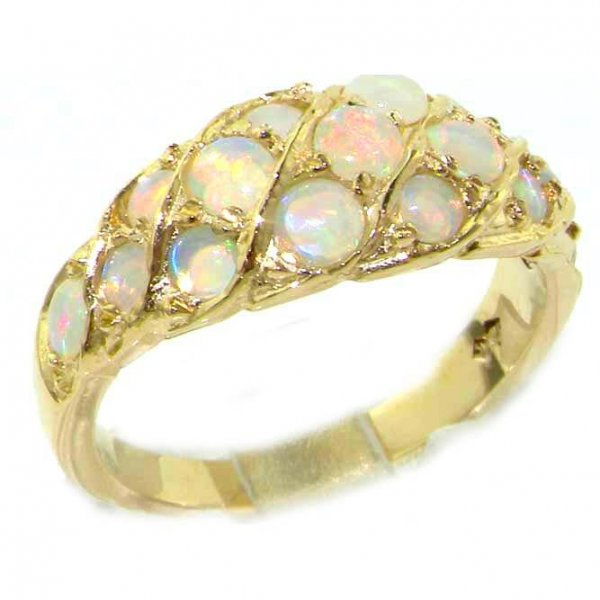 9ct Gold Fiery Opal Band Ring
