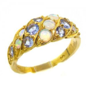 18ct Gold Vibrant Tanzanite & Fiery Opal Band Ring
