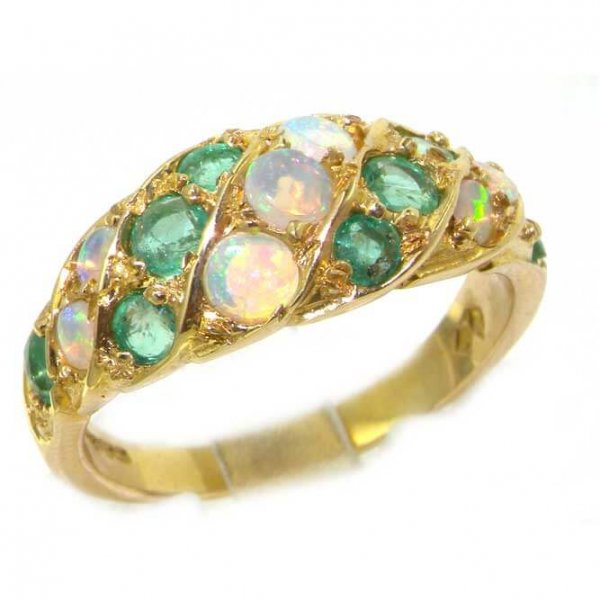 18ct Gold Fiery Opal & Emerald Band Ring