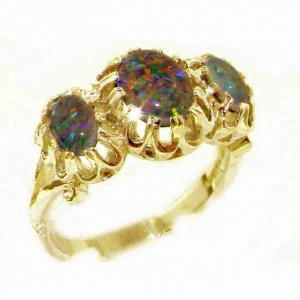 Unusual Large Solid 9ct Gold Natural Vibrant Opal Triplet Victorian Inspired Ring