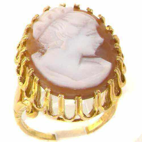 9ct Gold Large Profile Cameo Ring