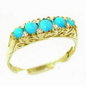 Luxury Solid 9ct Gold Turquoise Victorian Style Eternity Ring