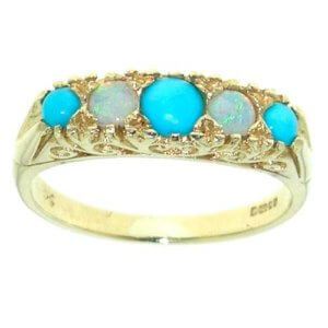 9ct Gold Turquoise & Fiery Opal RingFree P&P