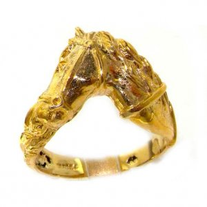 9ct Gold Large Horse Head & Tail Ring