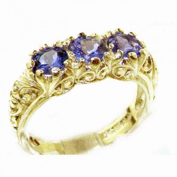 Luxury Solid 9ct Gold Natural Tanzanite Art Nouveau Carved Trilogy Ring
