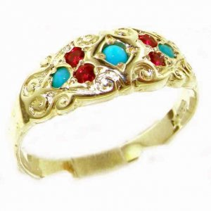 High Quality Solid 9ct Gold Ladies Natural Ruby & Turquoise Vintage Style Carved Band Ring