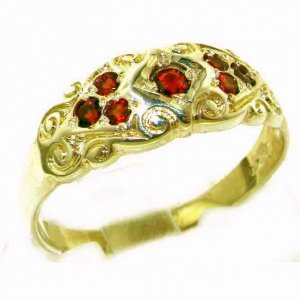 High Quality Solid 9ct Gold Ladies Natural Garnet Vintage Style Carved Band Ring - Finger Size P