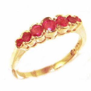 High Quality Solid 9ct Gold Ladies Natural Ruby Contemporary Style Eternity Band Ring