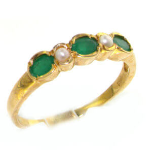 9ct Yellow Gold Ladies Emerald & Pearl Anniversary Eternity Band Ring