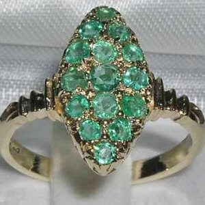 9ct Gold Art Deco Style Multi Emerald Ring