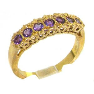 Solid 9ct Gold Ladies Natural Fiery Amethyst Victorian Style Eternity Band Ring