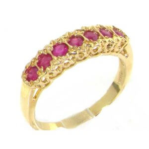 Solid 9ct Gold Ladies Natural Ruby Victorian Style Eternity Band Ring