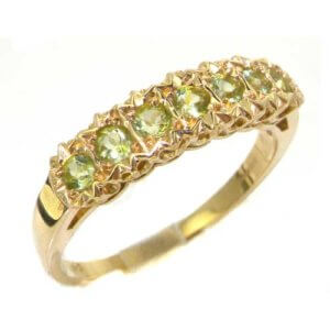 Solid English Yellow 9ct Gold Ladies Natural Fiery Peridot Victorian Style Eternity Band Ring